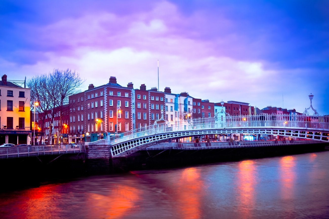 Ha'penny Bridge In Dublin City