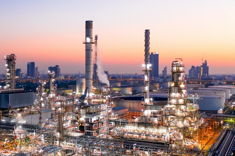Aerial View Of Oil Refinery During Sunrise